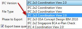 IFC version keuze