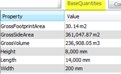 BaseQuantities export option IFC expoter Revit